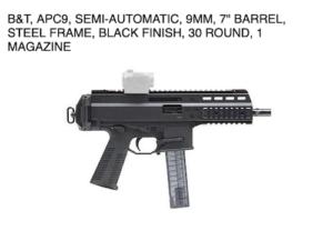 APC9 Semi Automatic handgun